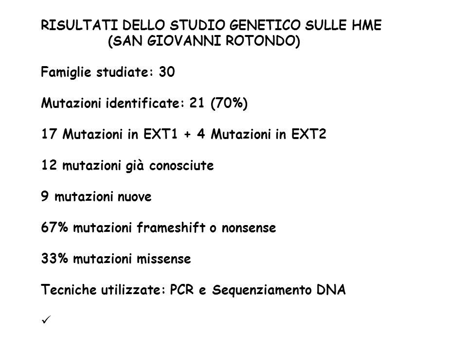 RISULTATI DELLO STUDIO GENETICO SULLE HME