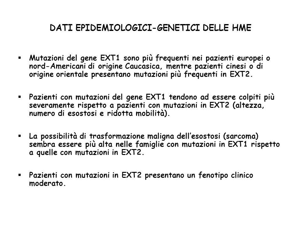 DATI EPIDEMIOLOGICI-GENETICI DELLE HME