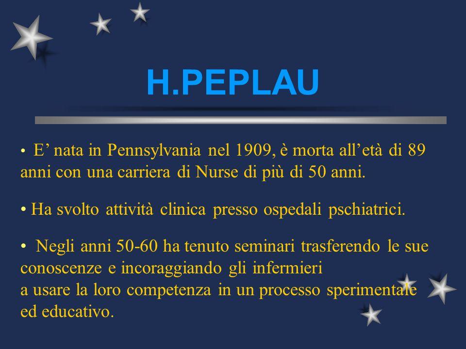 H.PEPLAU Ha svolto attività clinica presso ospedali pschiatrici.