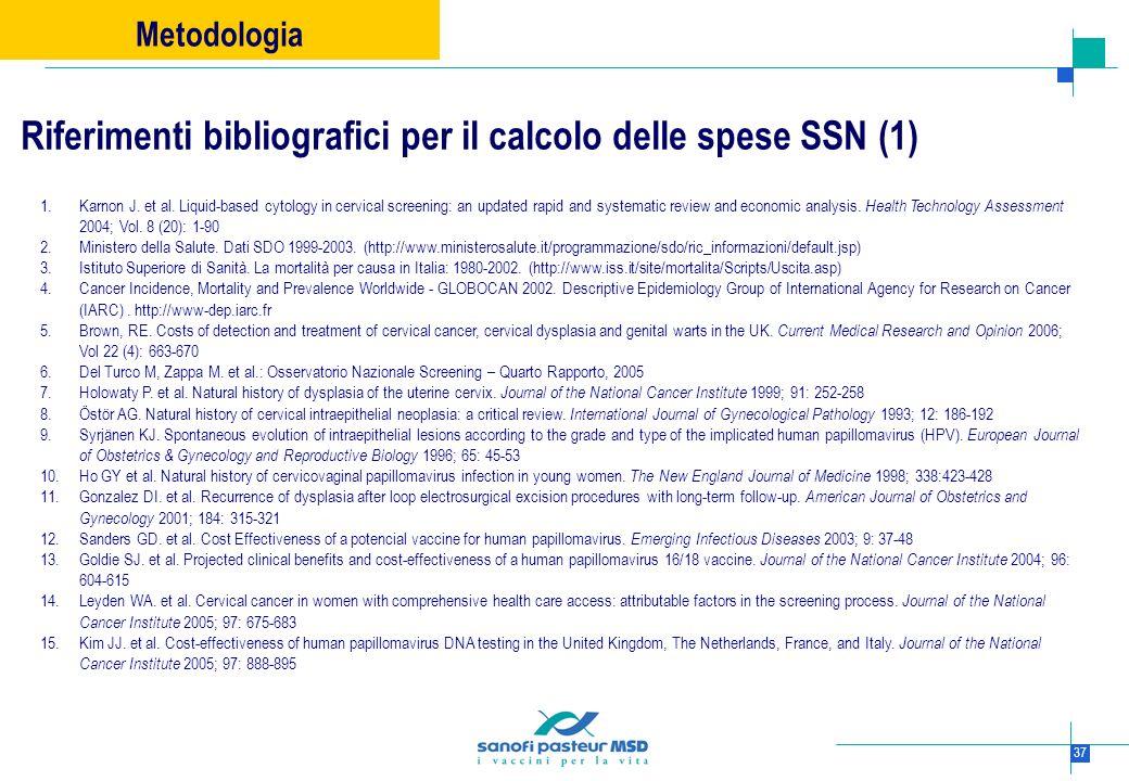 Riferimenti bibliografici per il calcolo delle spese SSN (1)