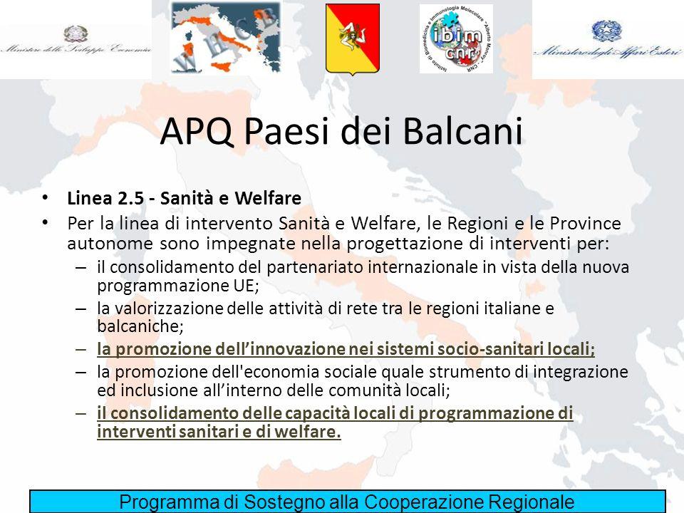 APQ Paesi dei Balcani Linea 2.5 - Sanità e Welfare