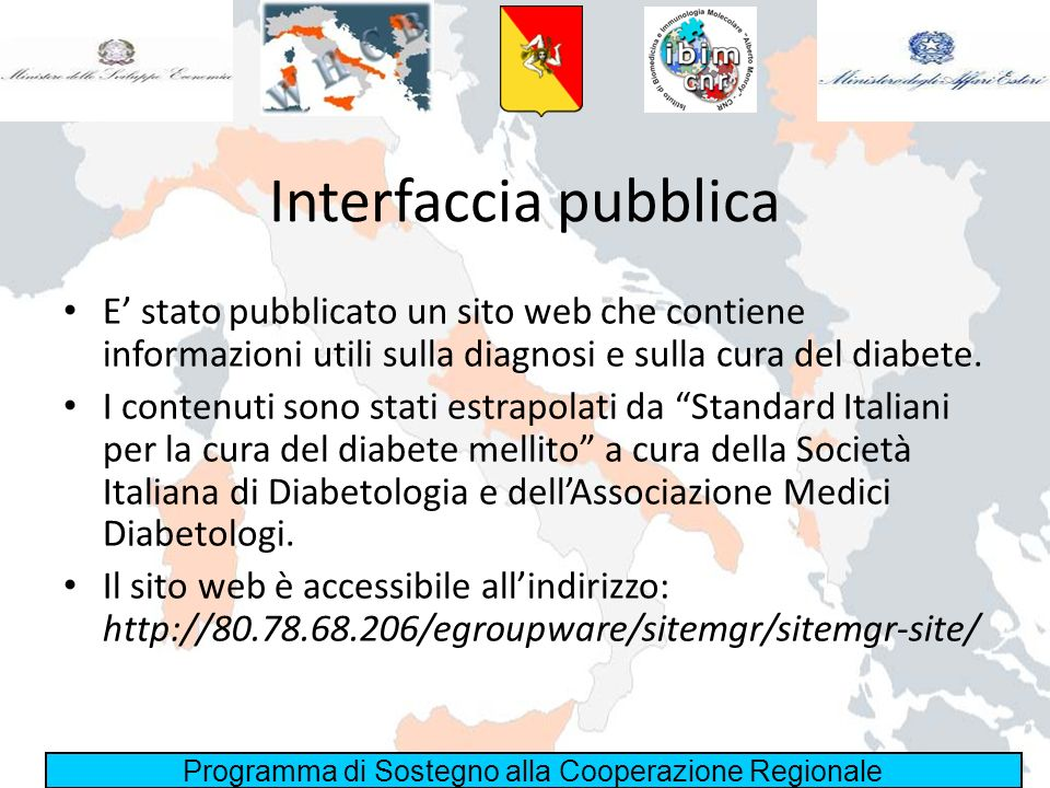 Interfaccia pubblicaE' stato pubblicato un sito web che contiene informazioni utili sulla diagnosi e sulla cura del diabete.