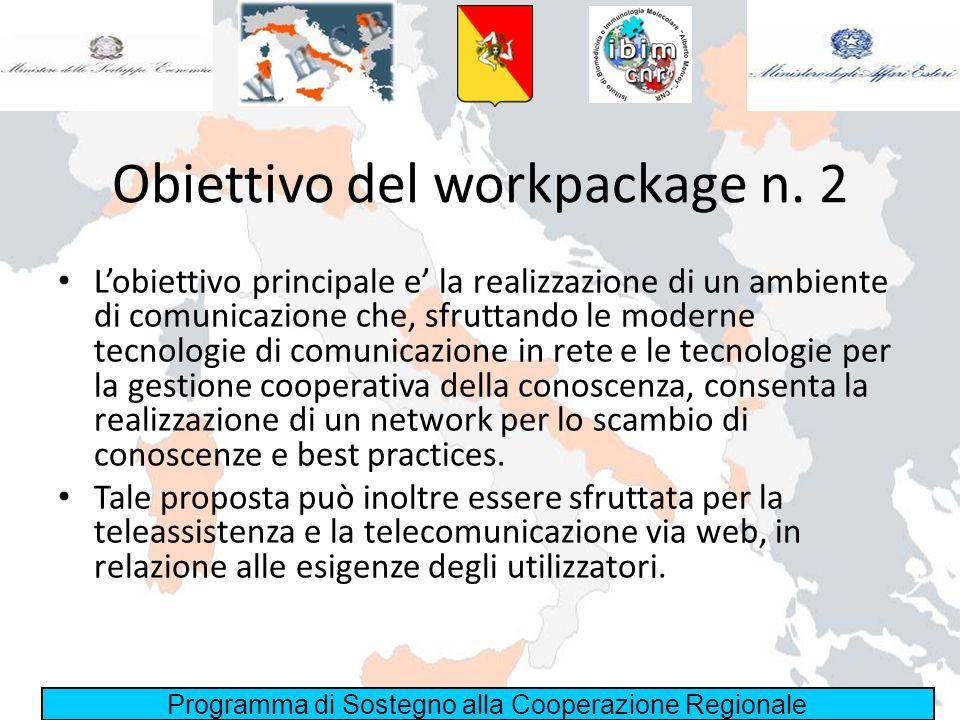 Obiettivo del workpackage n. 2