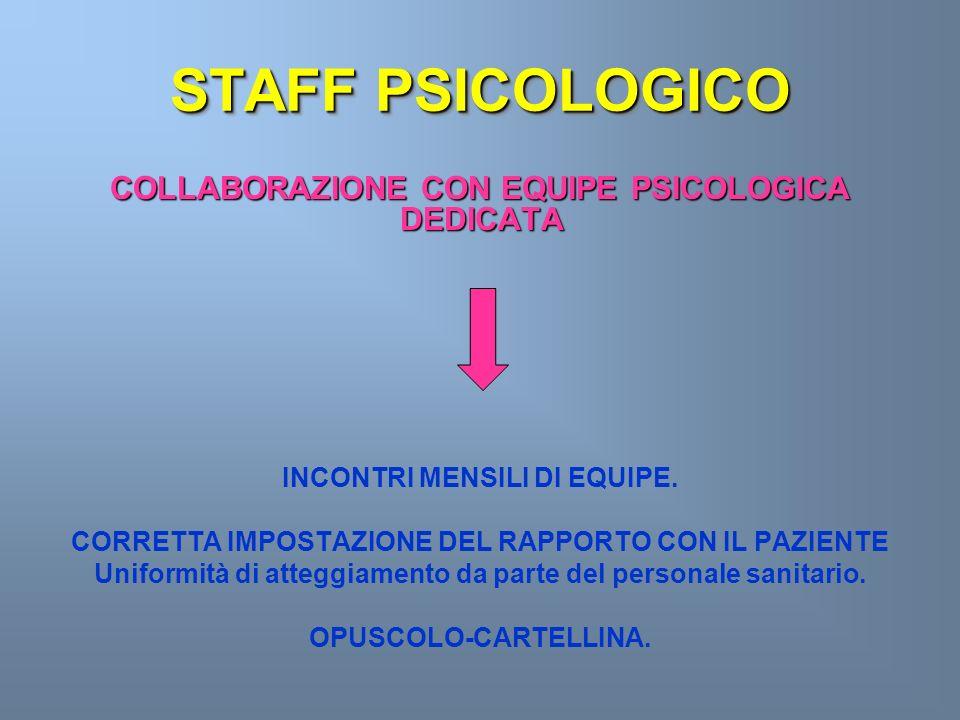 STAFF PSICOLOGICO COLLABORAZIONE CON EQUIPE PSICOLOGICA DEDICATA
