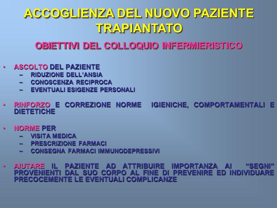 OBIETTIVI DEL COLLOQUIO INFERMIERISTICO