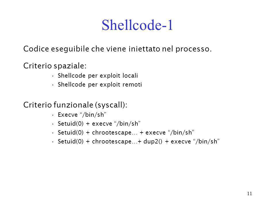 Shellcode-1 Codice eseguibile che viene iniettato nel processo.