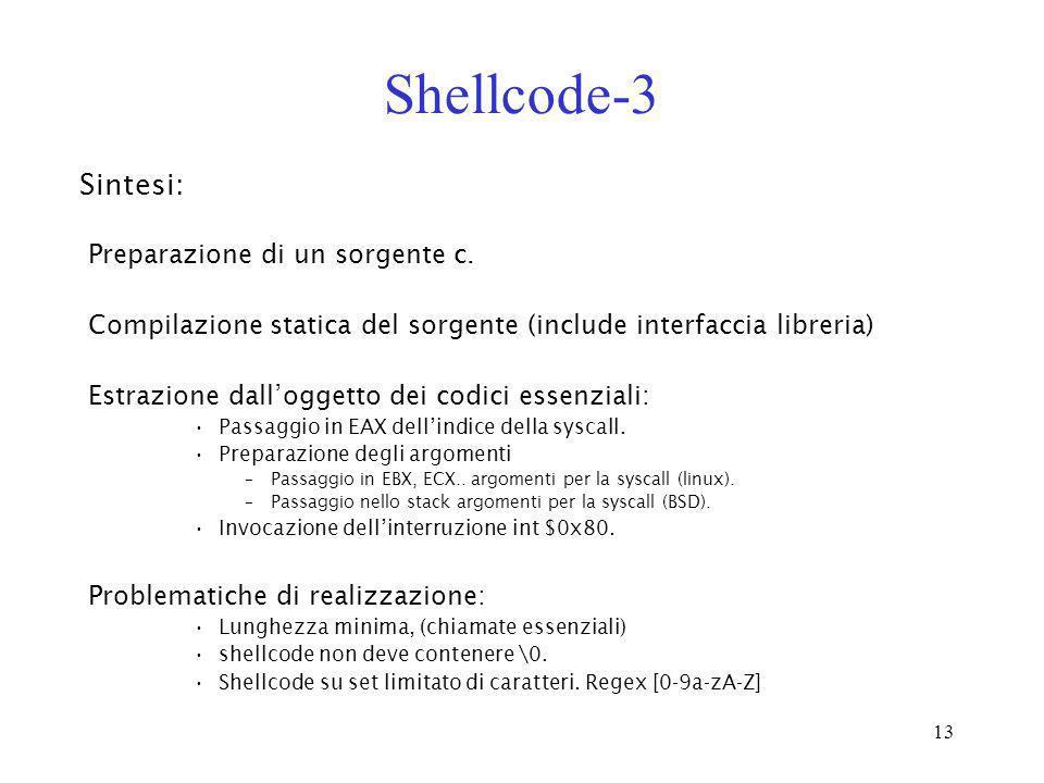 Shellcode-3 Sintesi: Preparazione di un sorgente c.