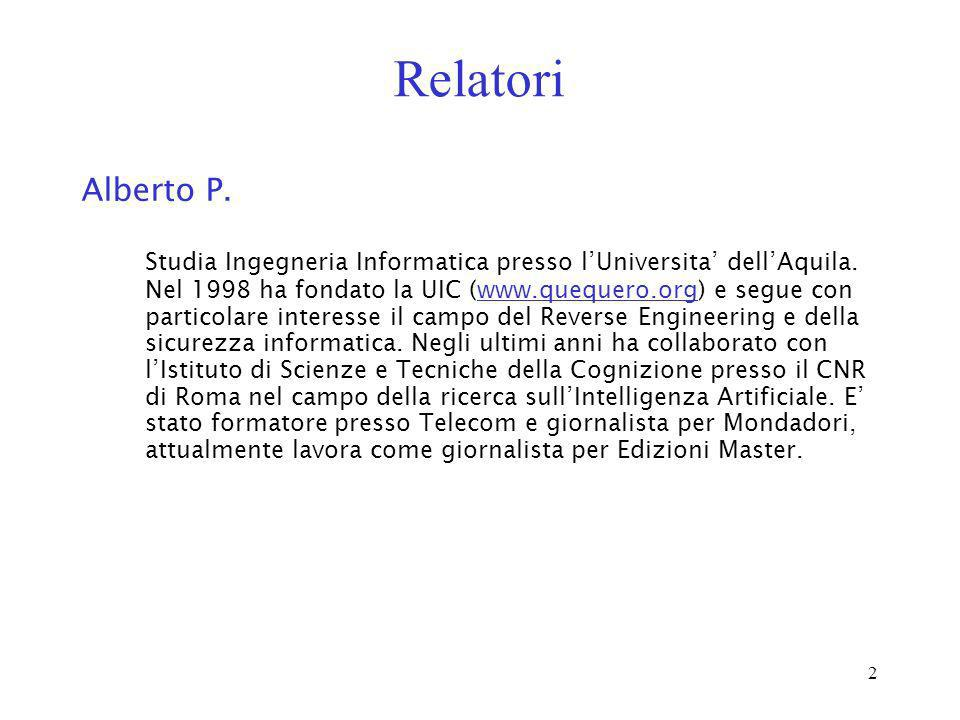 Relatori Alberto P.