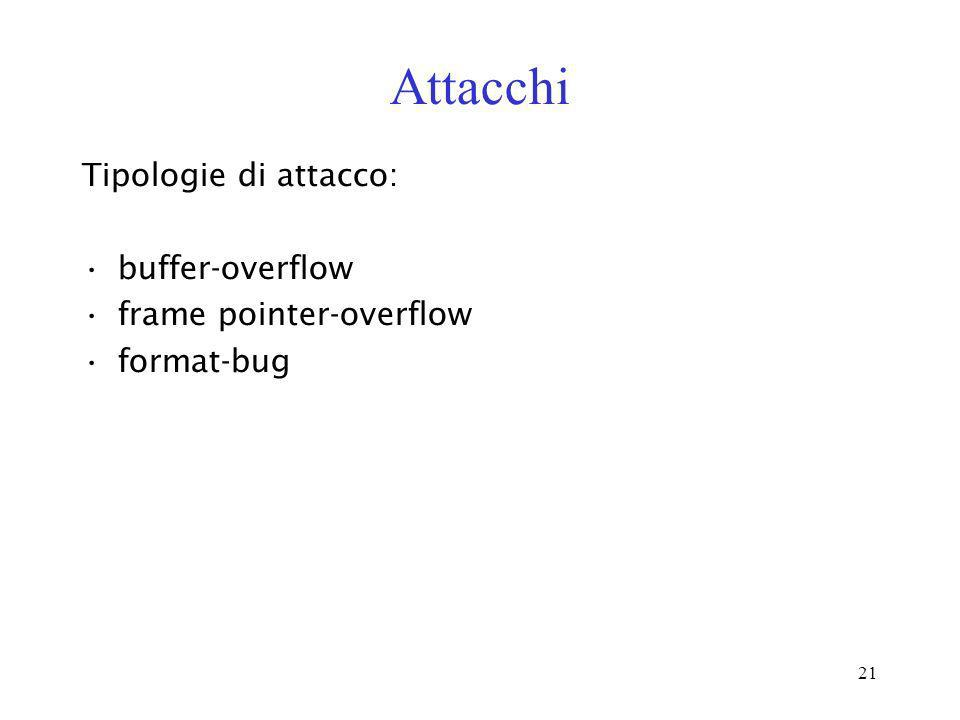 Attacchi Tipologie di attacco: buffer-overflow frame pointer-overflow