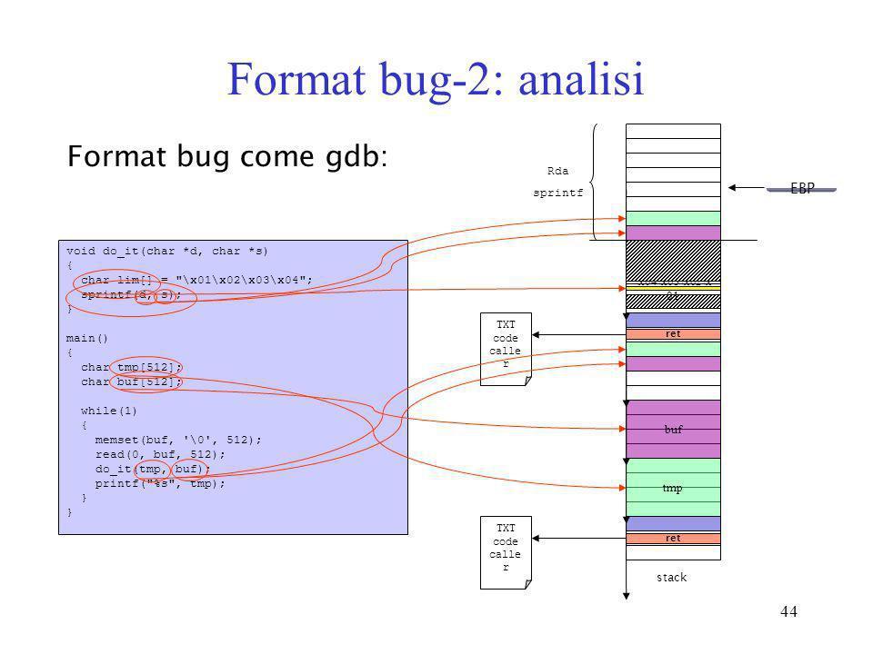 Format bug-2: analisi Format bug come gdb: EBP EBP Rda sprintf
