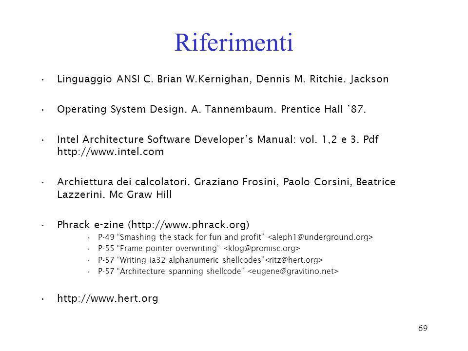 Riferimenti Linguaggio ANSI C. Brian W.Kernighan, Dennis M. Ritchie. Jackson. Operating System Design. A. Tannembaum. Prentice Hall '87.