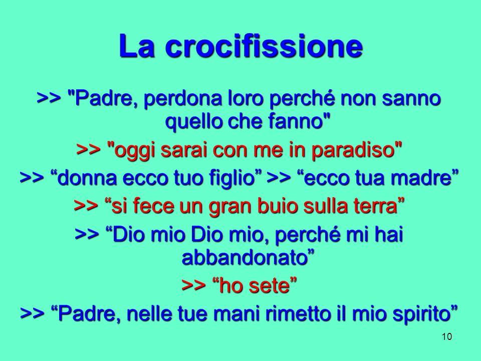 La crocifissione >> Padre, perdona loro perché non sanno quello che fanno >> oggi sarai con me in paradiso