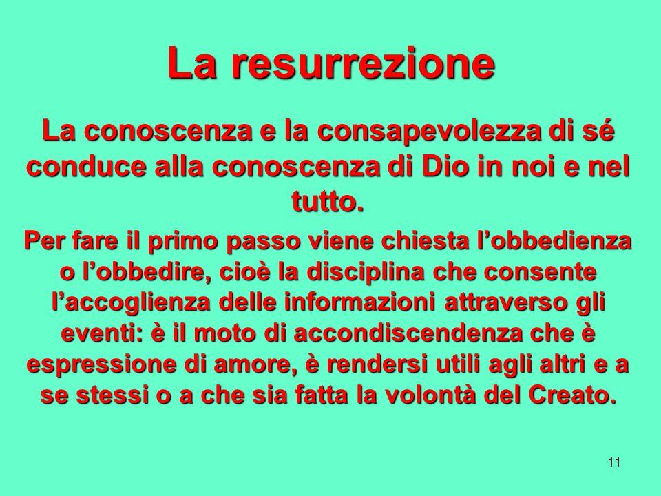 La resurrezione La conoscenza e la consapevolezza di sé conduce alla conoscenza di Dio in noi e nel tutto.