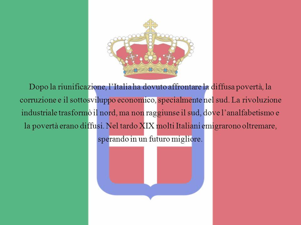 Dopo la riunificazione, l'Italia ha dovuto affrontare la diffusa povertà, la corruzione e il sottosviluppo economico, specialmente nel sud.