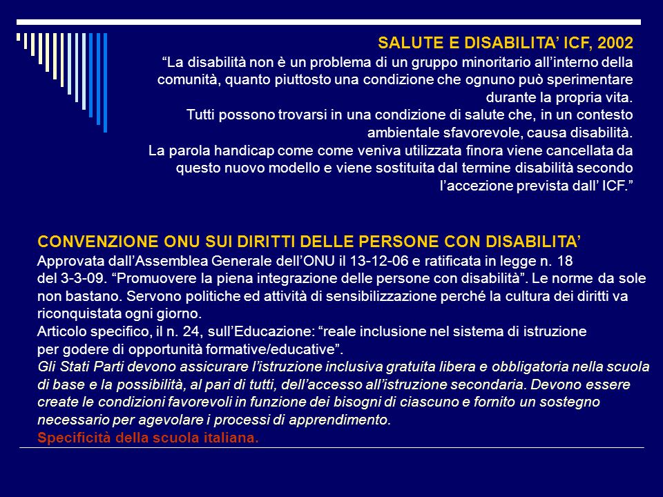 SALUTE E DISABILITA' ICF, 2002