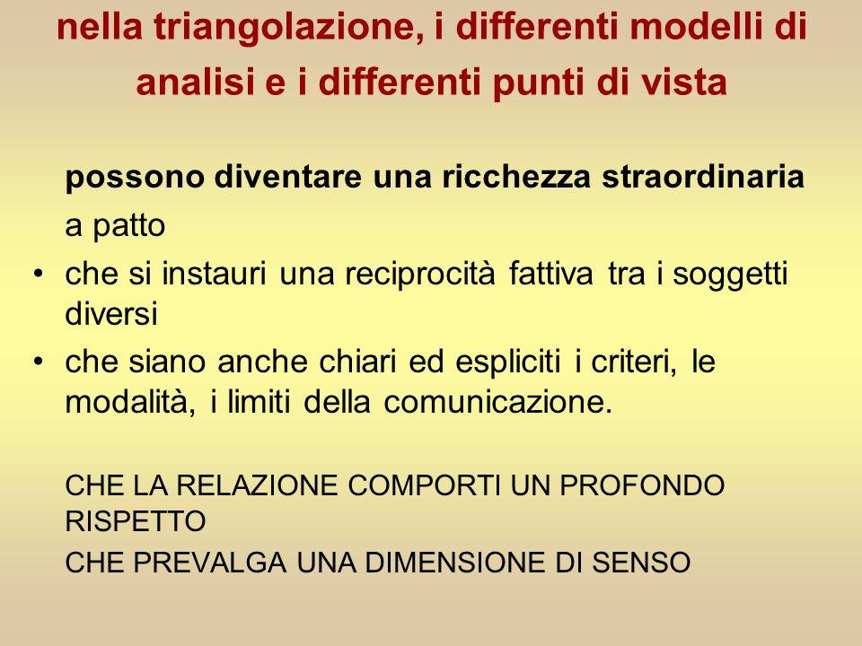 nella triangolazione, i differenti modelli di analisi e i differenti punti di vista