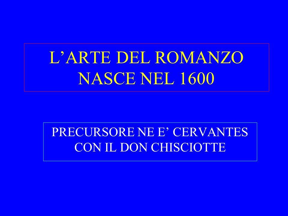 L'ARTE DEL ROMANZO NASCE NEL 1600