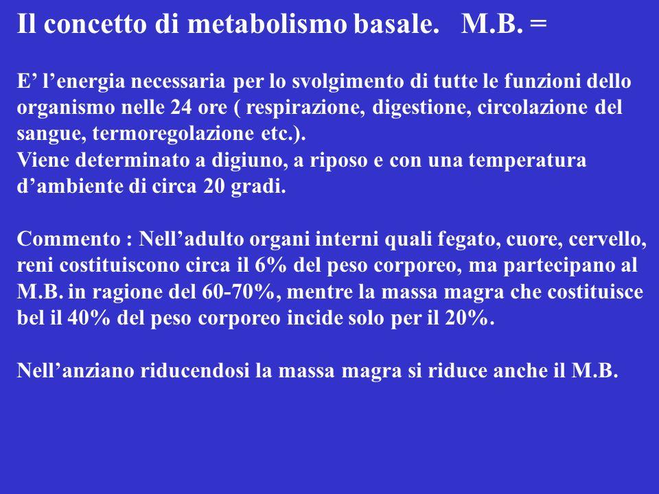 Il concetto di metabolismo basale. M.B. =