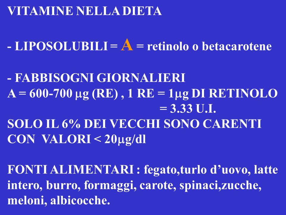 VITAMINE NELLA DIETA - LIPOSOLUBILI = A = retinolo o betacarotene. - FABBISOGNI GIORNALIERI. A = 600-700 mg (RE) , 1 RE = 1mg DI RETINOLO.