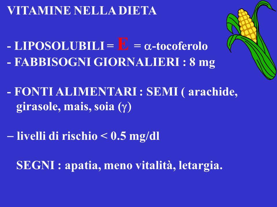 VITAMINE NELLA DIETA - LIPOSOLUBILI = E = a-tocoferolo. - FABBISOGNI GIORNALIERI : 8 mg. - FONTI ALIMENTARI : SEMI ( arachide,