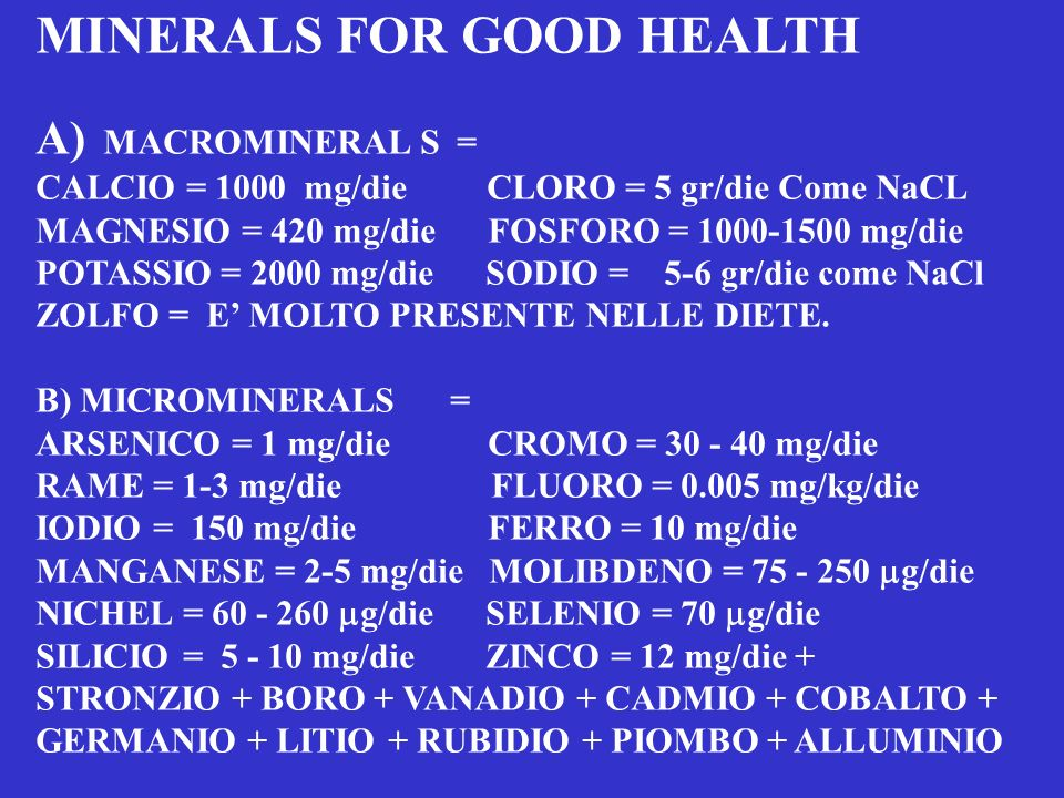 MINERALS FOR GOOD HEALTH