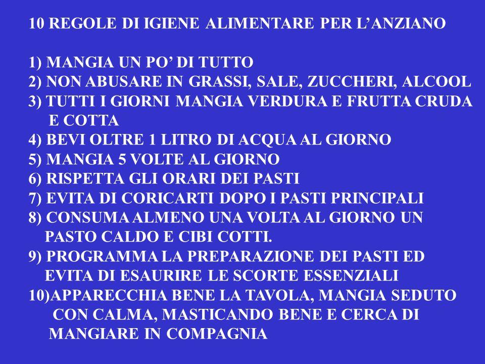 10 REGOLE DI IGIENE ALIMENTARE PER L'ANZIANO