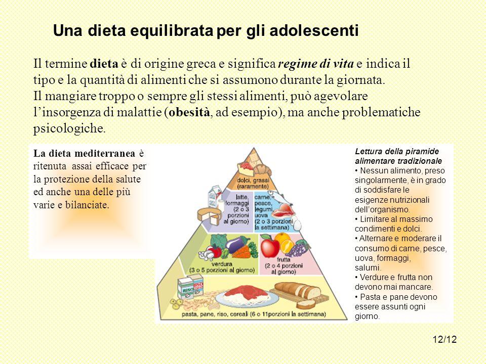 Una dieta equilibrata per gli adolescenti