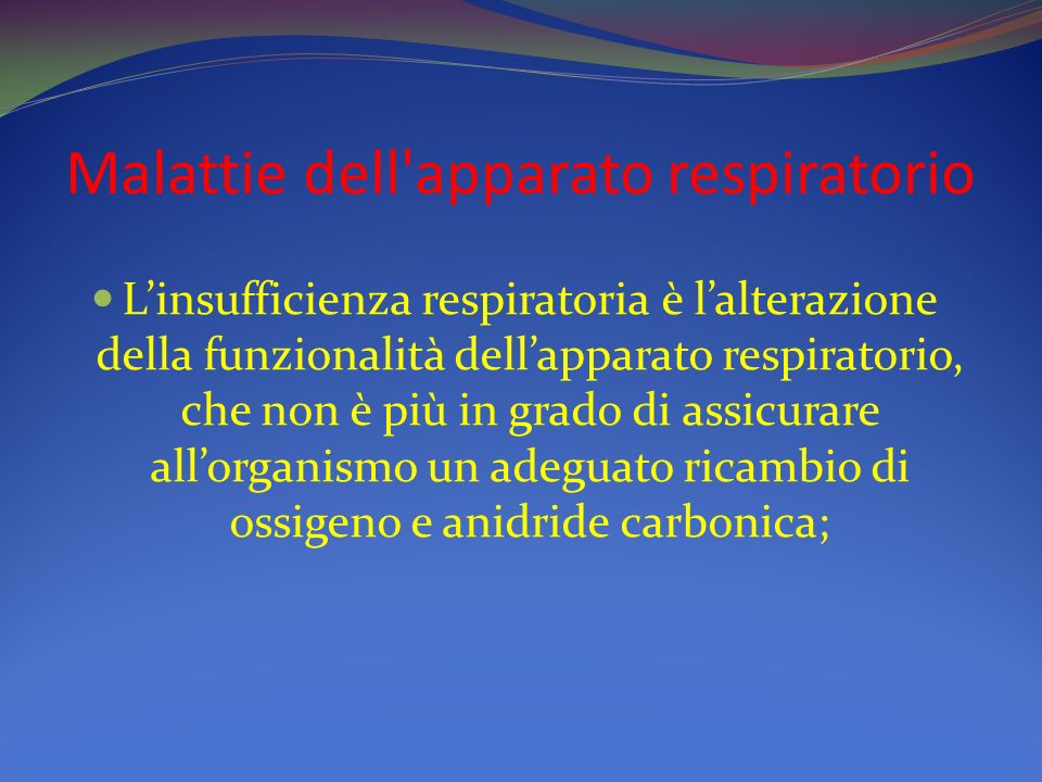 Malattie dell apparato respiratorio