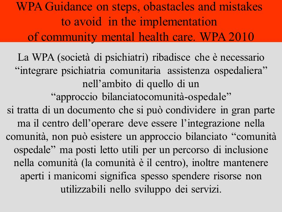 WPA Guidance on steps, obastacles and mistakes