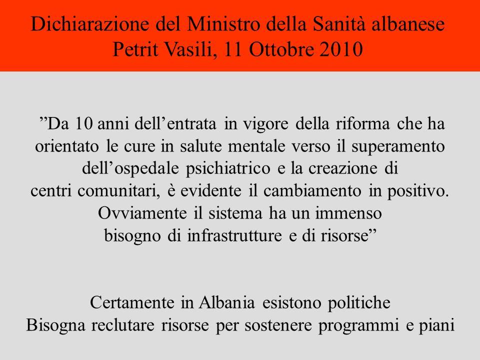Dichiarazione del Ministro della Sanità albanese