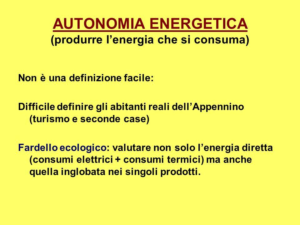 AUTONOMIA ENERGETICA (produrre l'energia che si consuma)