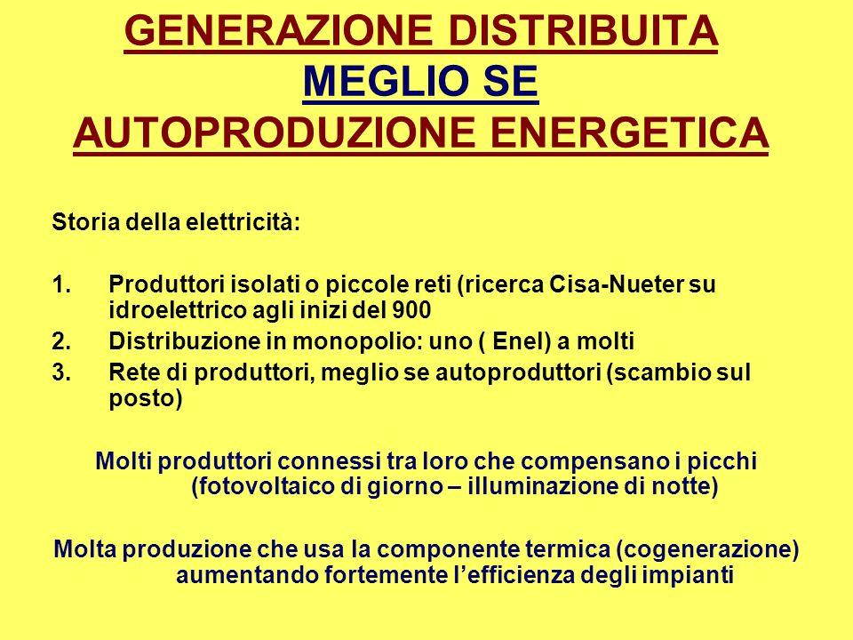 GENERAZIONE DISTRIBUITA MEGLIO SE AUTOPRODUZIONE ENERGETICA