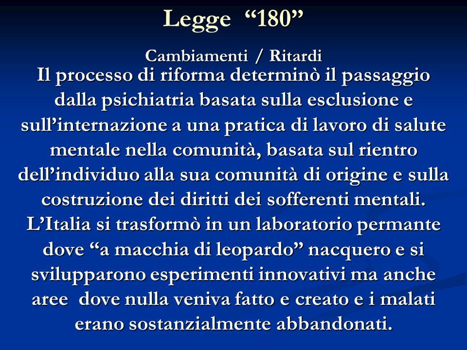Legge 180 Cambiamenti / Ritardi.