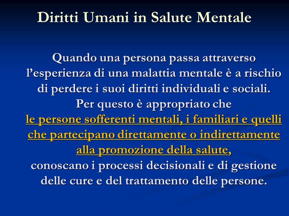Diritti Umani in Salute Mentale