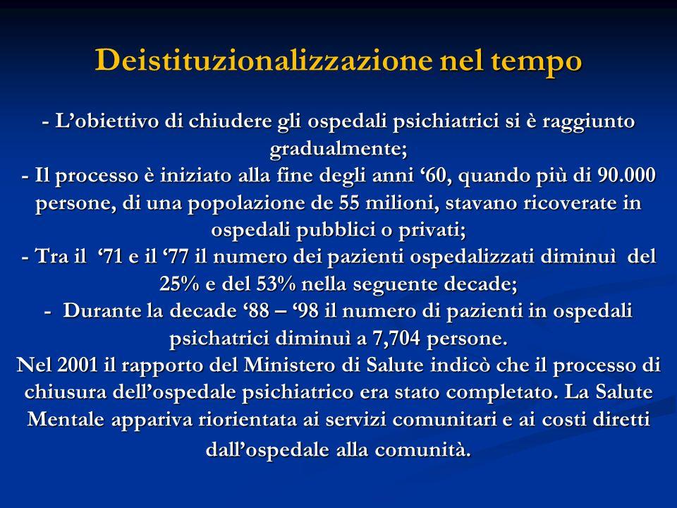 Deistituzionalizzazione nel tempo - L'obiettivo di chiudere gli ospedali psichiatrici si è raggiunto gradualmente; - Il processo è iniziato alla fine degli anni '60, quando più di 90.000 persone, di una popolazione de 55 milioni, stavano ricoverate in ospedali pubblici o privati; - Tra il '71 e il '77 il numero dei pazienti ospedalizzati diminuì del 25% e del 53% nella seguente decade; - Durante la decade '88 – '98 il numero di pazienti in ospedali psichatrici diminuì a 7,704 persone.