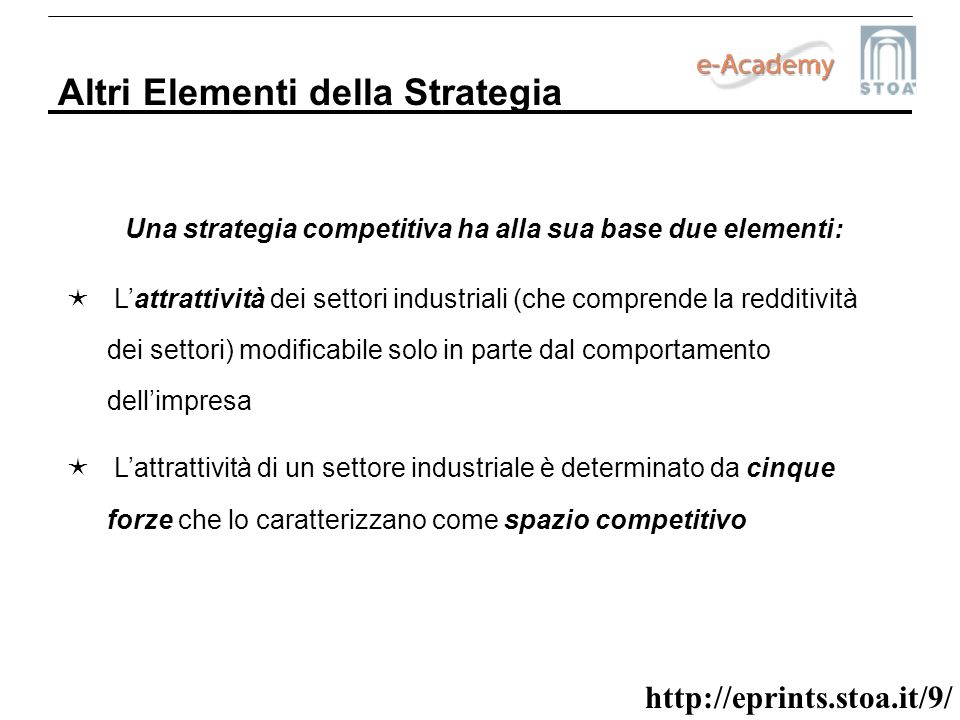 Una strategia competitiva ha alla sua base due elementi: