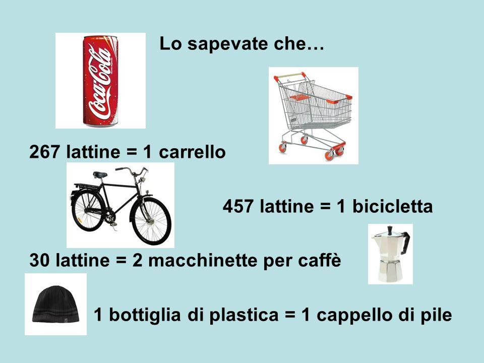 Lo sapevate che… 267 lattine = 1 carrello. 457 lattine = 1 bicicletta. 30 lattine = 2 macchinette per caffè.