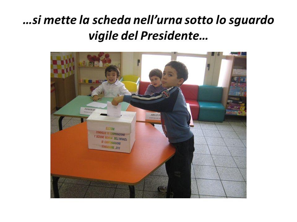 …si mette la scheda nell'urna sotto lo sguardo vigile del Presidente…
