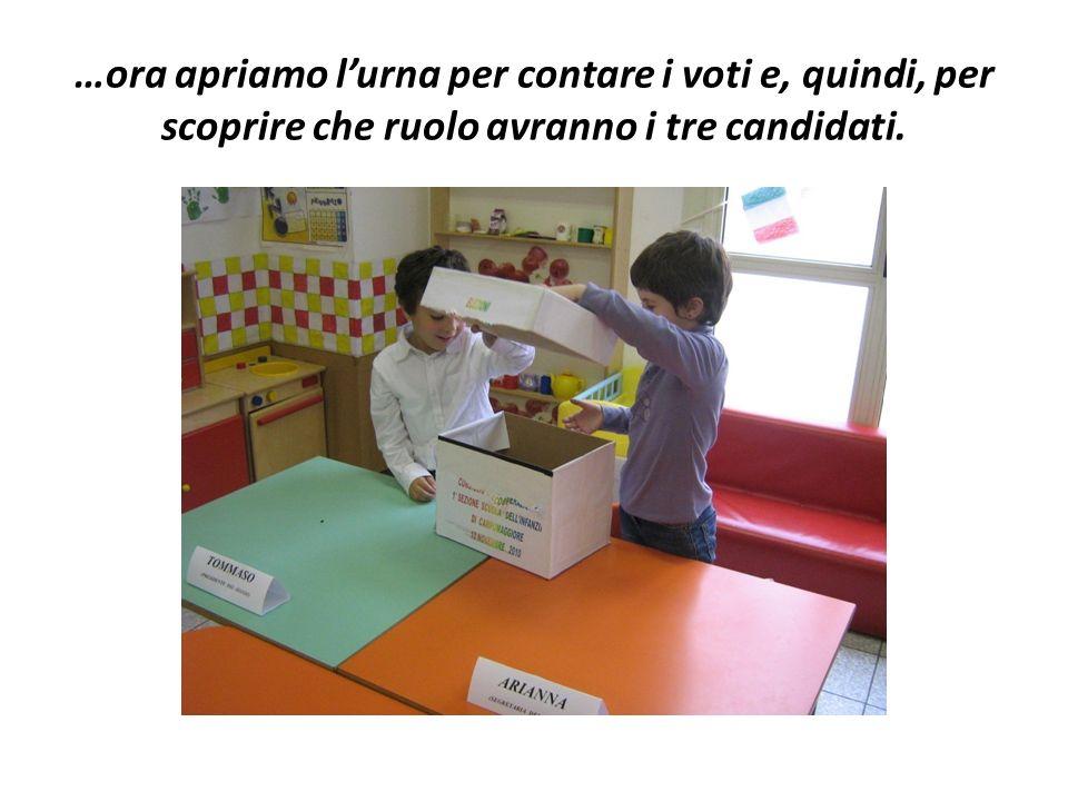 …ora apriamo l'urna per contare i voti e, quindi, per scoprire che ruolo avranno i tre candidati.