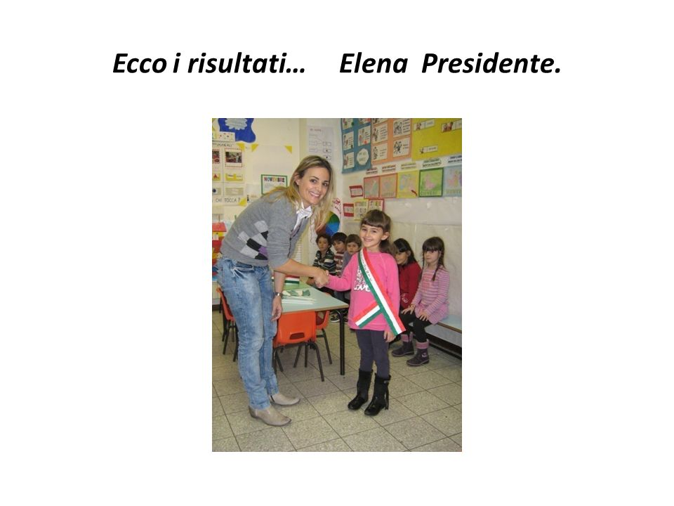 Ecco i risultati… Elena Presidente.