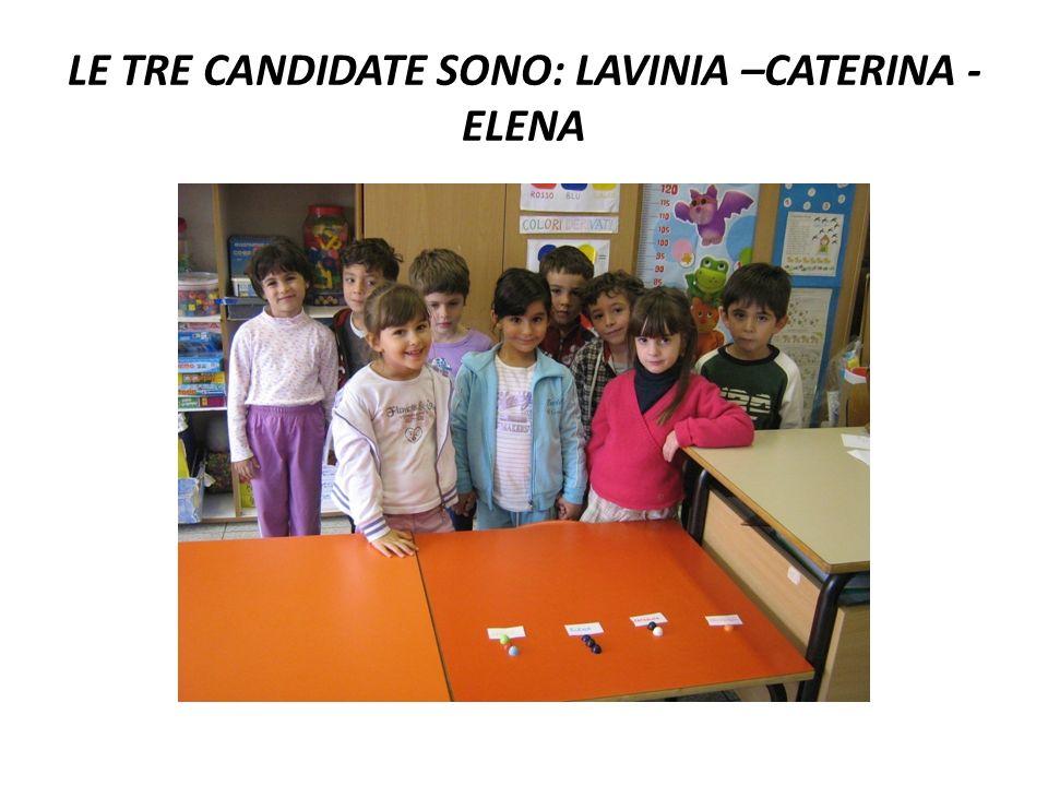 LE TRE CANDIDATE SONO: LAVINIA –CATERINA - ELENA