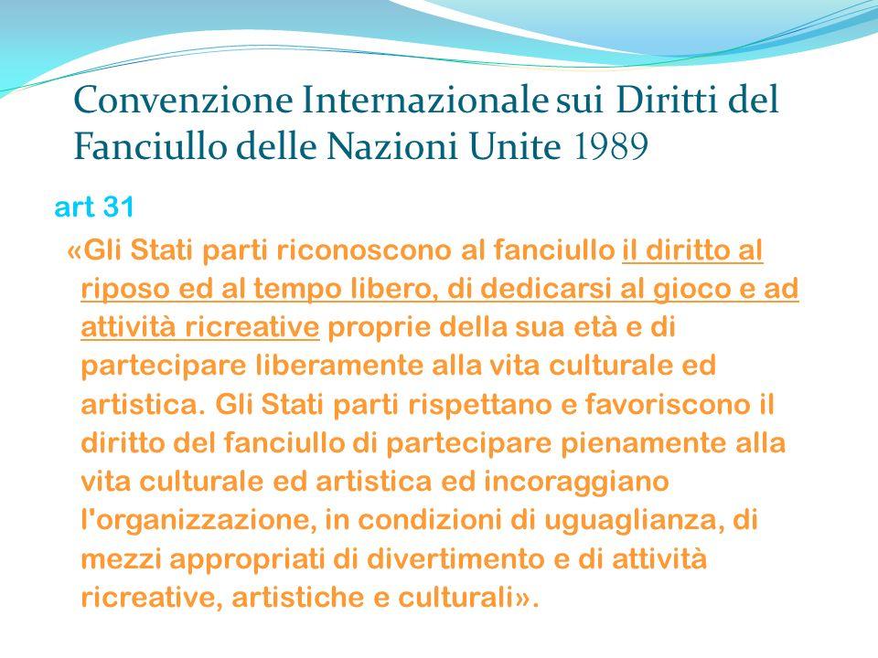 Convenzione Internazionale sui Diritti del Fanciullo delle Nazioni Unite 1989