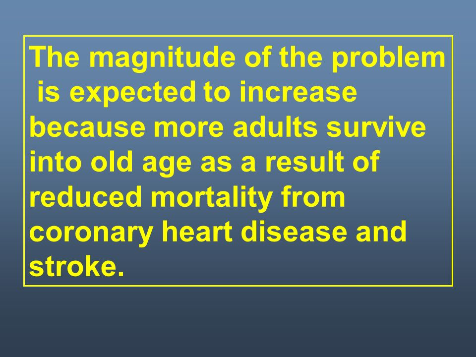 The magnitude of the problem is expected to increase because more adults survive into old age as a result of reduced mortality from coronary heart disease and stroke.