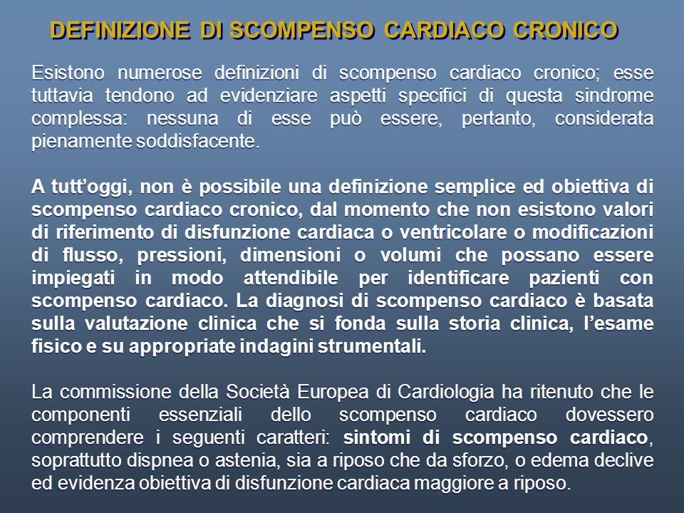 DEFINIZIONE DI SCOMPENSO CARDIACO CRONICO