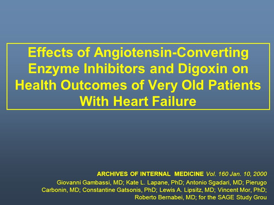 Effects of Angiotensin-Converting Enzyme Inhibitors and Digoxin on Health Outcomes of Very Old Patients With Heart Failure