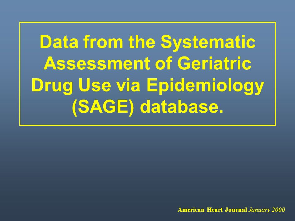 Data from the Systematic Assessment of Geriatric Drug Use via Epidemiology (SAGE) database.
