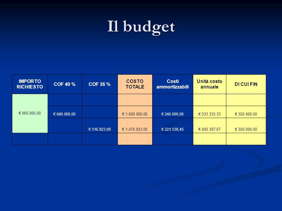 Il budget IMPORTO RICHIESTO COF 40 % COF 35 % COSTO TOTALE Costi