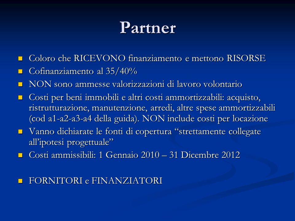 Partner Coloro che RICEVONO finanziamento e mettono RISORSE