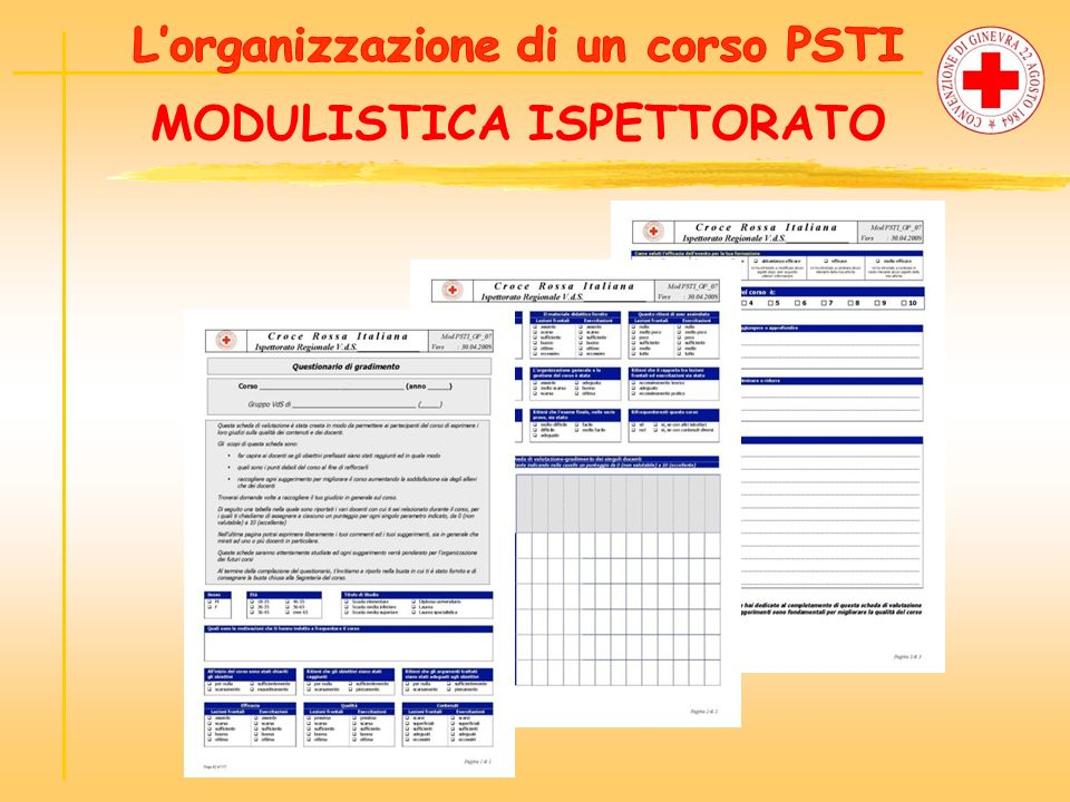 L'organizzazione di un corso PSTI MODULISTICA ISPETTORATO