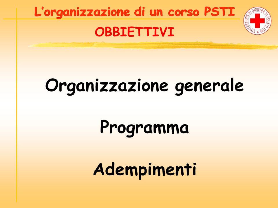L'organizzazione di un corso PSTI Organizzazione generale